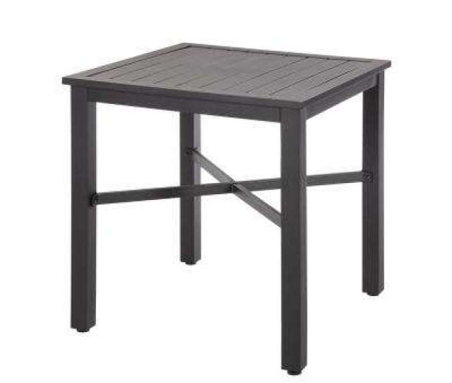 Exclusive Hampton Bay Mix And Match  In Black Square Metal Outdoor Bistro Table With Slat Top