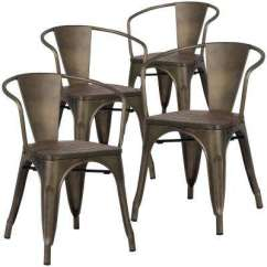 Set Of 4 Dining Chairs Handmade Christmas Chair Covers Metal Kitchen Room Furniture The Cantina Bronze Arm With Elm Wood Seat