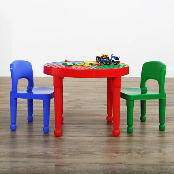 Tot Tutors Primary 2-in-1 Plastic Lego-compatible Kids Activity Table And 2 Chairs Set-ct599