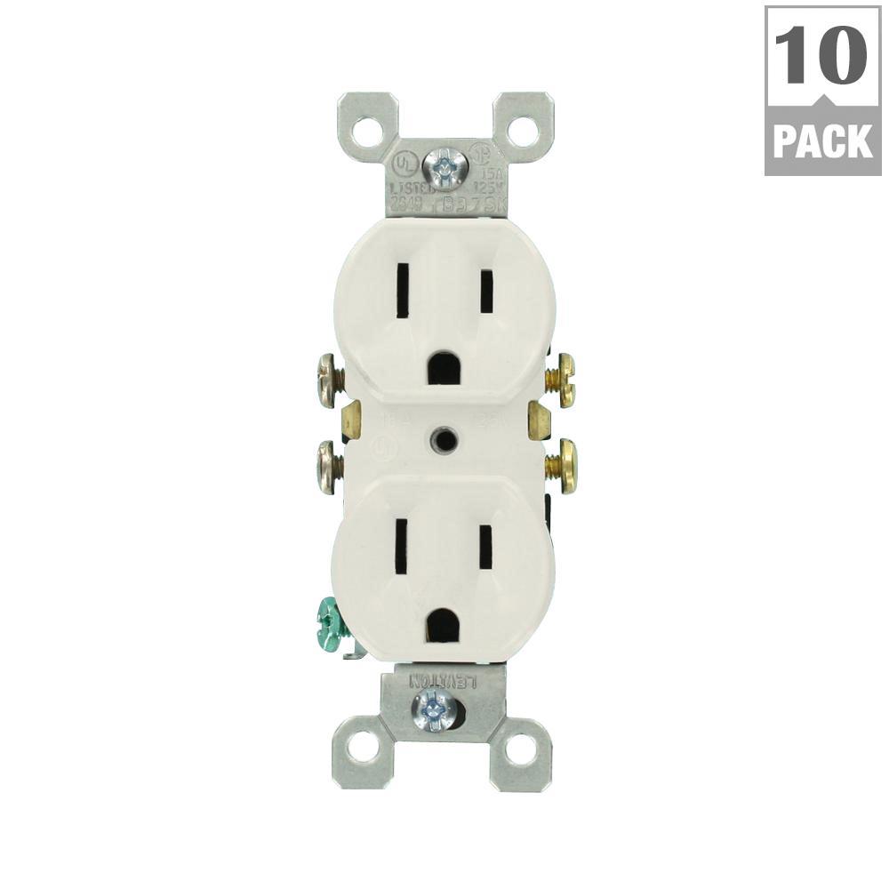 medium resolution of 15 amp residential grade grounding duplex outlet white 10 pack
