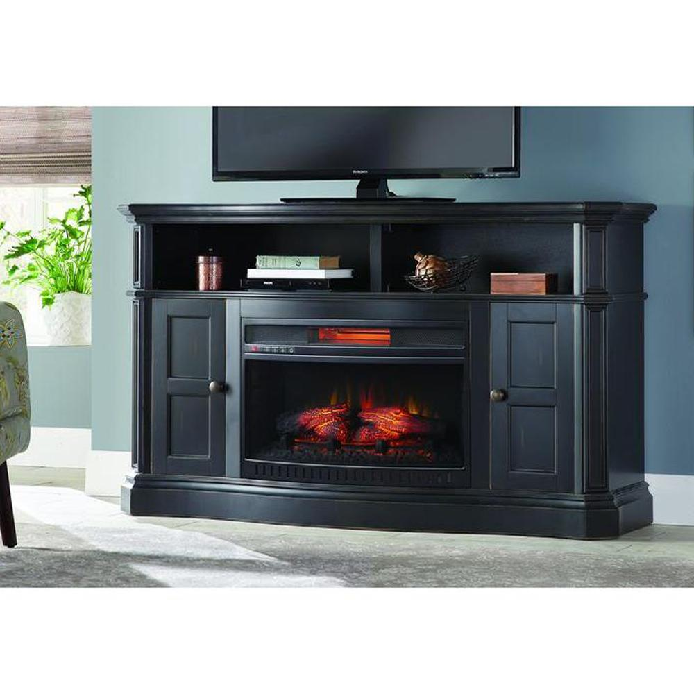Home Decorators Collection Highland 50 in Faux Stone Mantel Electric Fireplace in Tan103041