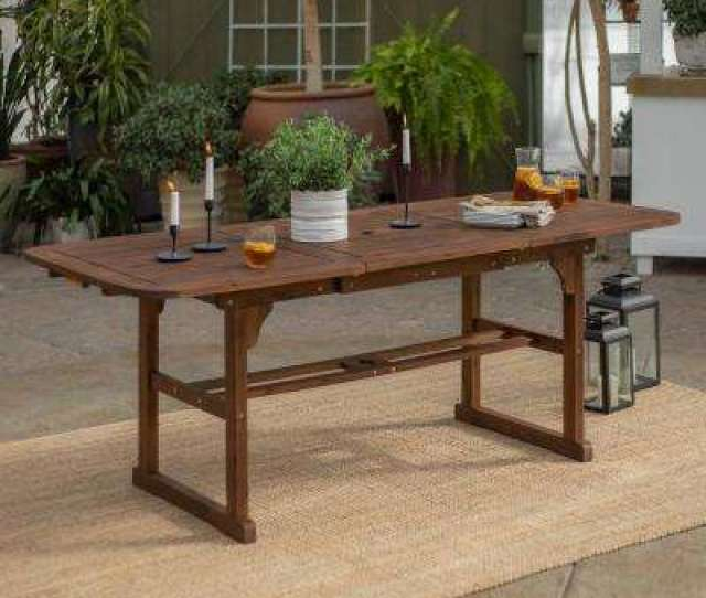 Boardwalk Dark Brown Acacia Wood Extendable Outdoor Dining Table