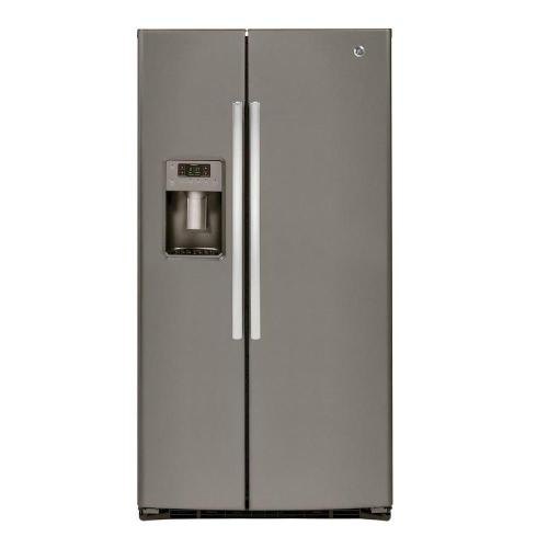 small resolution of ge 25 3 cu ft side by side refrigerator in slate fingerprint resistant and