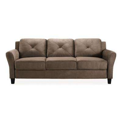 sofa microfiber fabric stretch suede slipcover brown sofas loveseats living room harvard with rolled arms in