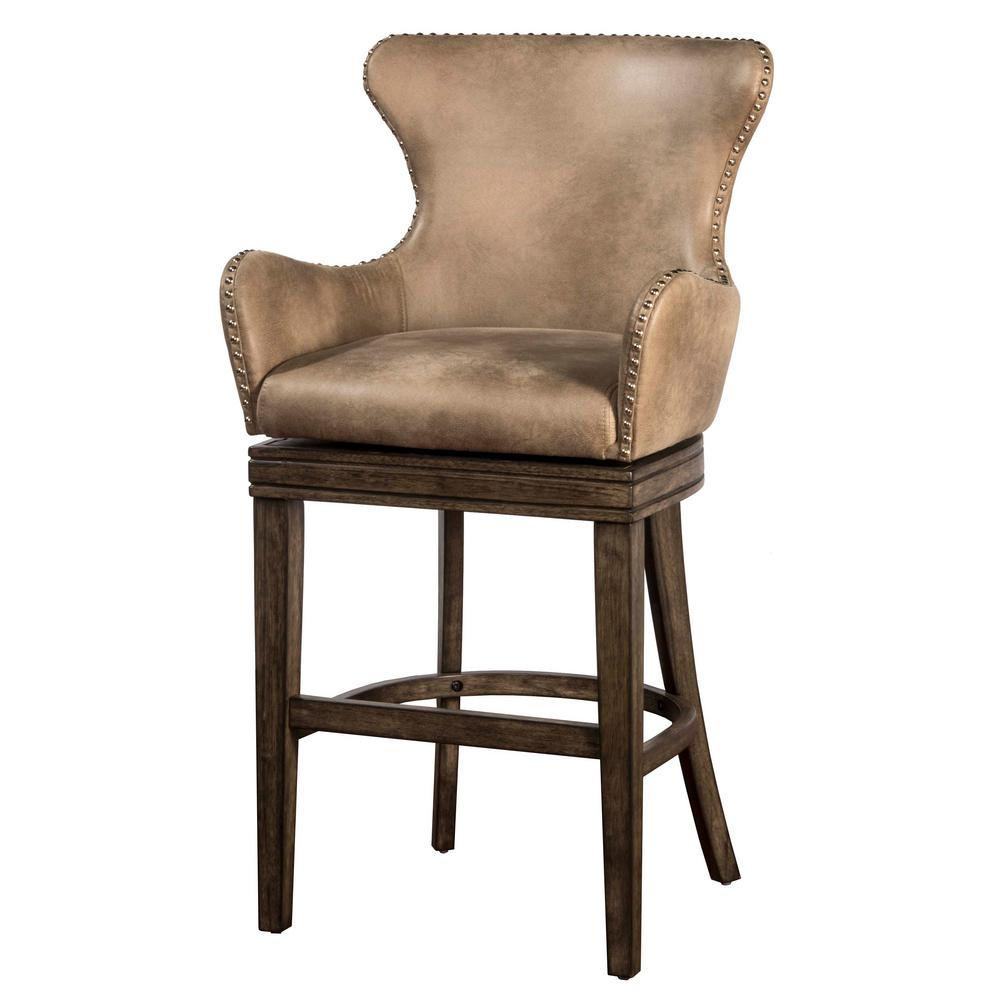 swivel chair regal desk in kitchen hillsdale furniture caydena 26 rustic gray counter stool