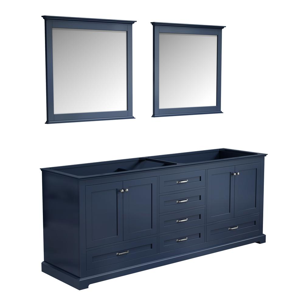 Lexora Dukes 60 In Navy Blue Double Vanity No Top And 58 In Mirror Ld342260de00m58 The Home Depot
