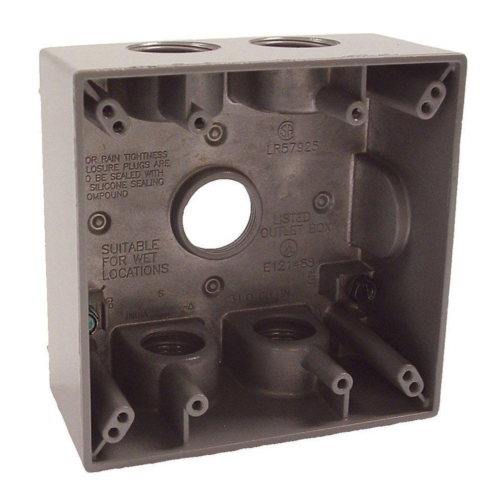 medium resolution of 2 gang weatherproof box with five 3 4 in outlets