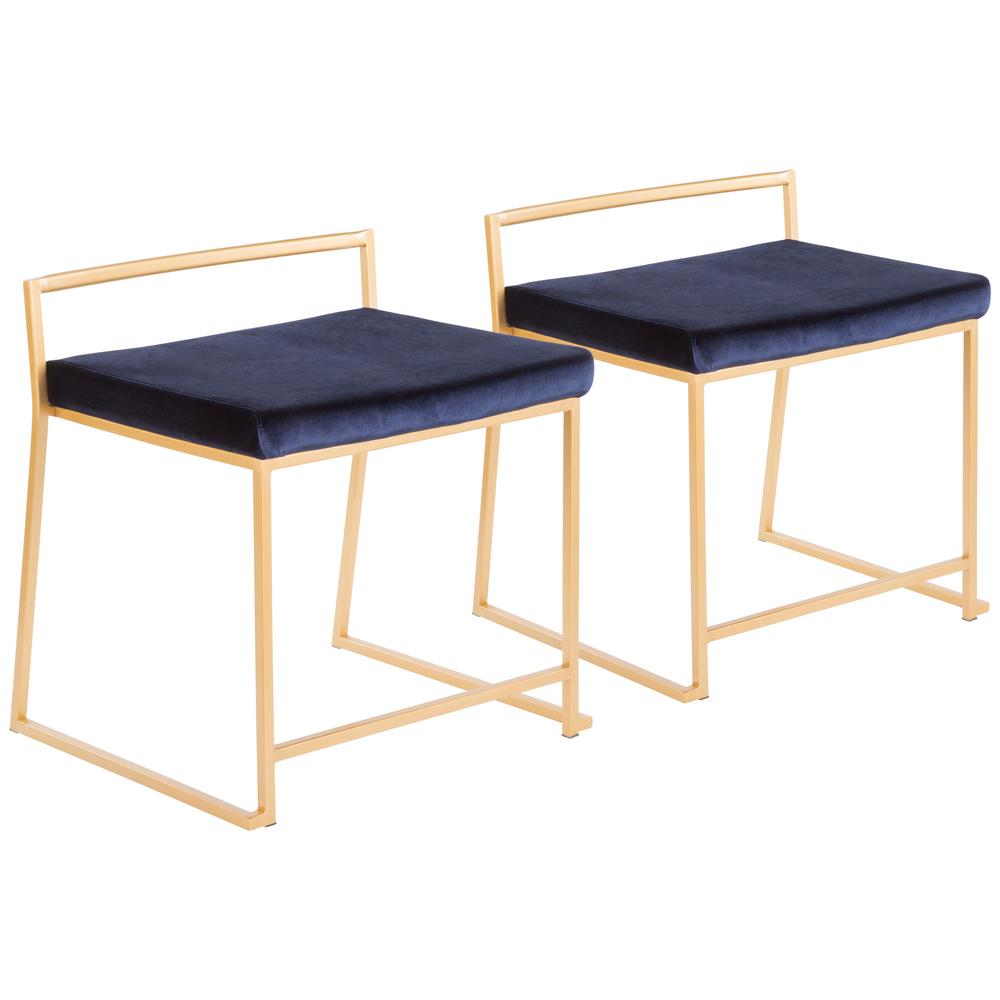 steel chair gold towel clips for beach chairs lumisource fuji stackable dining in metal and blue velvet set of 2