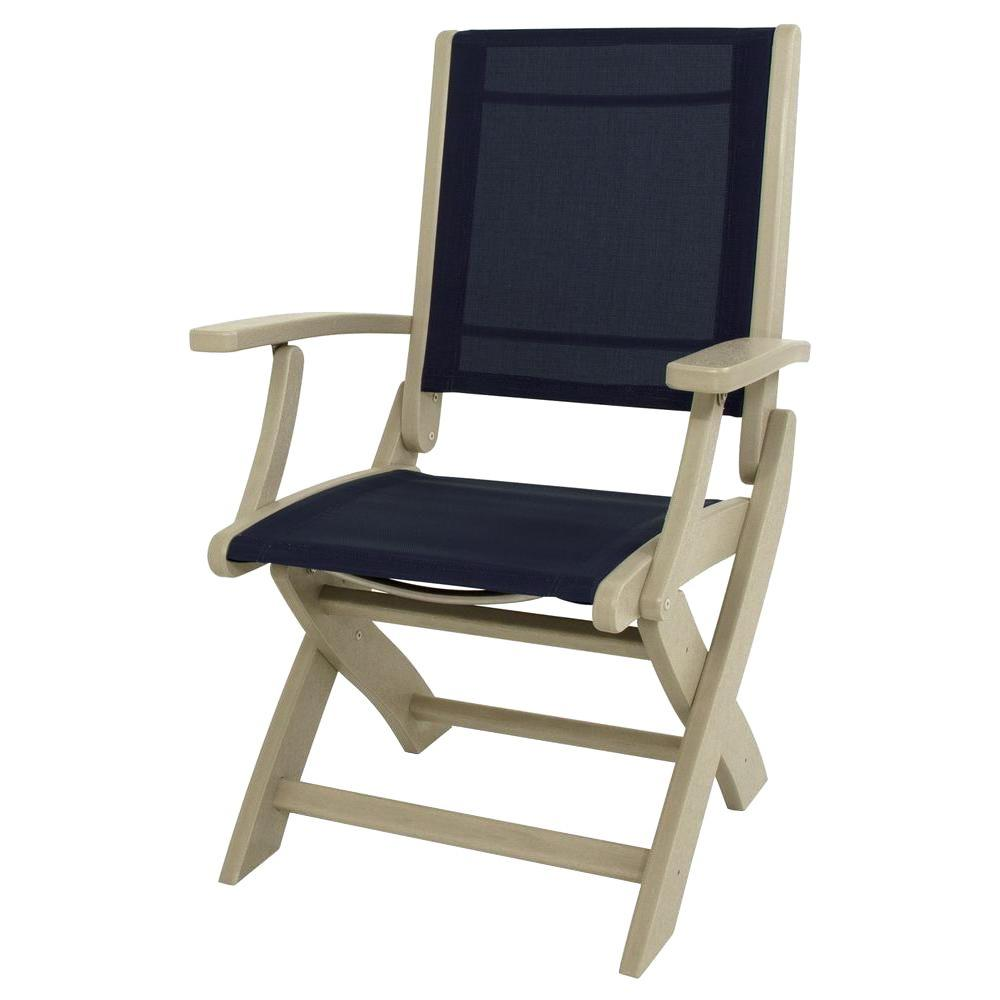 Foldable Patio Chairs Polywood Sand Navy Blue Sling Coastal Patio Folding Chair