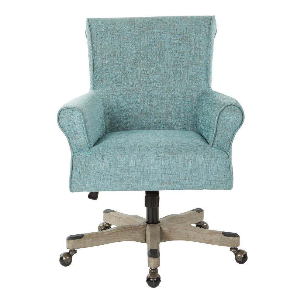 office chair fabric folding chairs osp home furnishings megan turquoise with grey wash wood