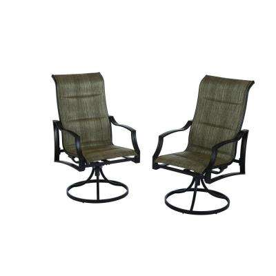 home depot stacking chair covers kenny chesney blue outdoor dining chairs patio the statesville padded sling swivel 2 pack