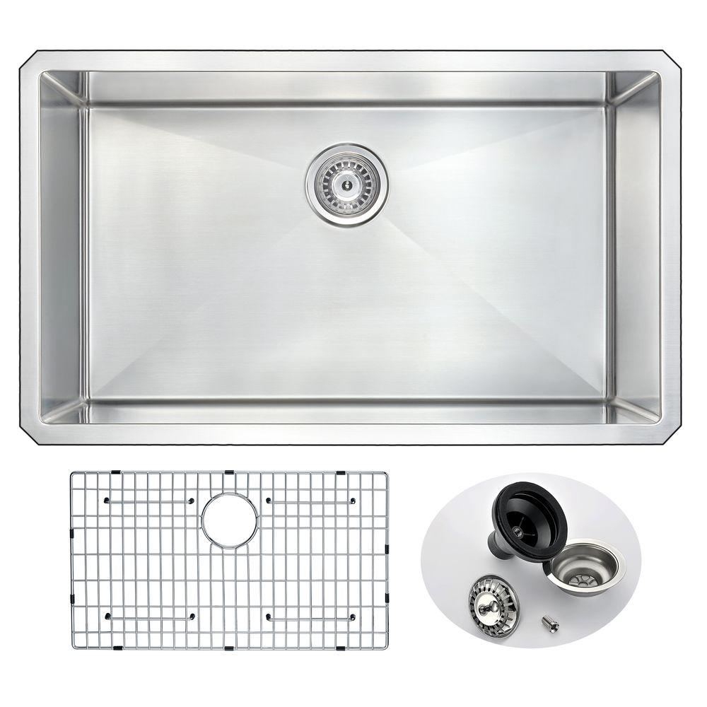 under mount kitchen sink depth anzzi vanguard series undermount stainless steel 32 in 0 hole single bowl