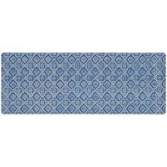 Blue Kitchen Rugs Tile Floor Mats The Home Depot Micro Elegance Indigo Clover 18 In X 48 Mat