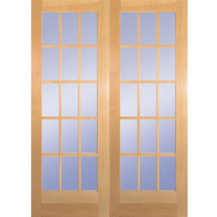 15-Lite Clear Wood Pine Prehung Interior French