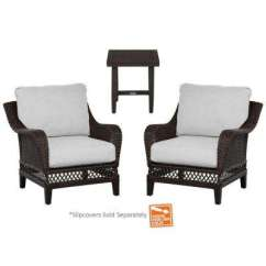 Wicker Patio Chair Set Of 2 Bedroom Chairs At Target Woodbury 3 Person Outdoor Lounge Furniture Piece Chat With Cushions Included Choose Your Own