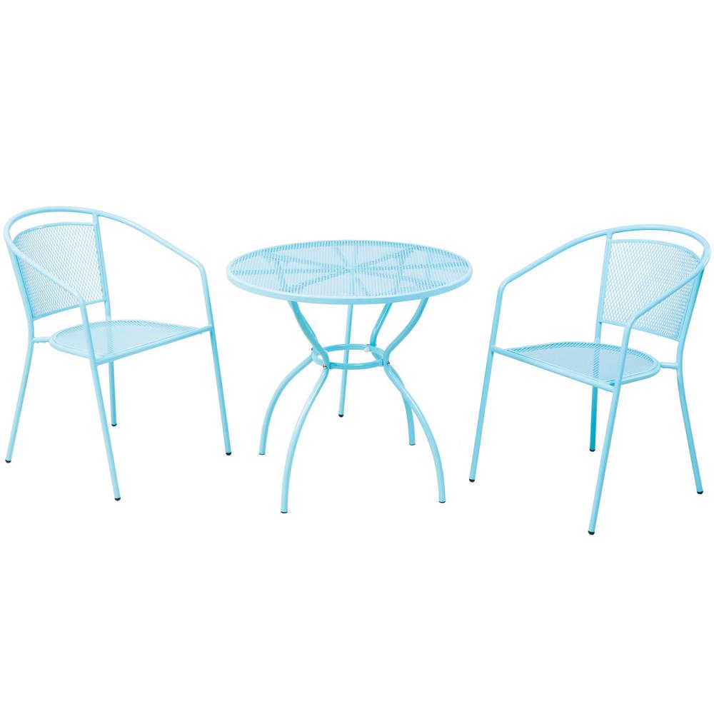 blue bistro chairs covering a wingback chair alfresco 3 piece martini metal set in sky finish with 31 5