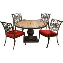 Hanover Monaco 5-piece Aluminum Outdoor Dining Set With