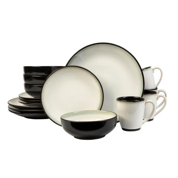 Sango Nova Black 16-piece Dinnerware Set-3603bk801acn84 - Home Depot