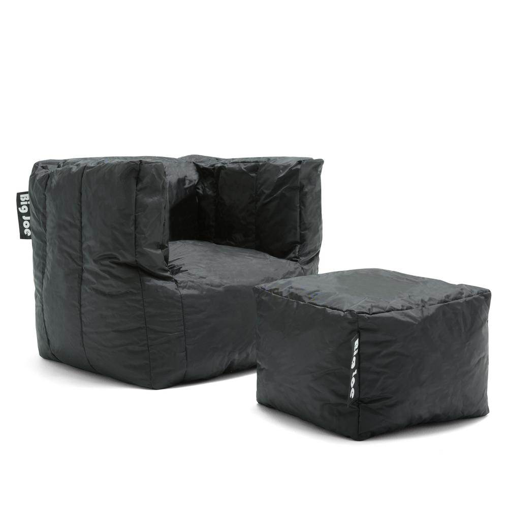 black chair and ottoman graco tablefit high cover big joe cube with stretch limo smartmax bean bag 0670602 the home depot
