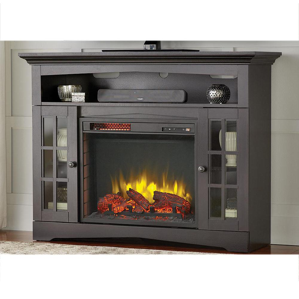 Home Decorators Collection Avondale Grove 48 in TV Stand Infrared Electric Fireplace in Aged