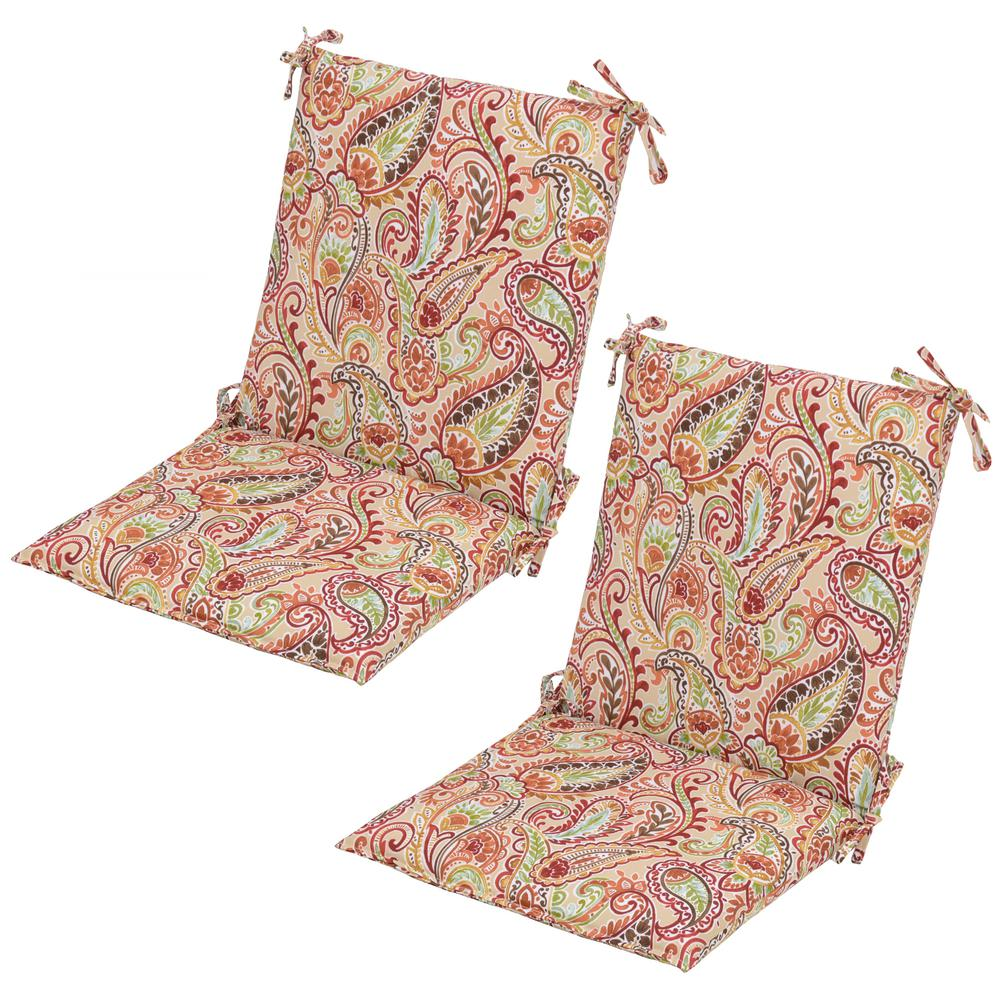 Patio Chair Cushions Cheap Chili Paisley Mid Back Outdoor Dining Chair Cushion 2 Pack
