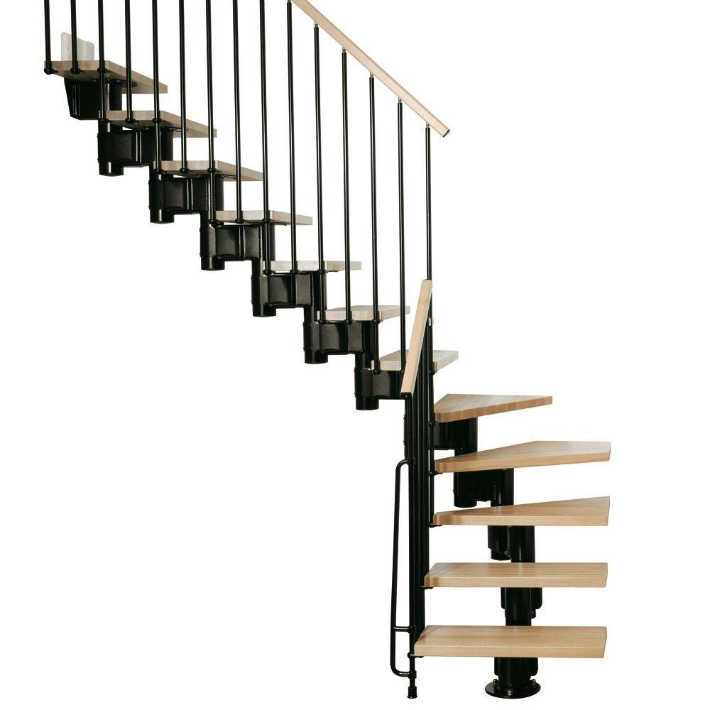Arke Kompact 35 In Black Modular Staircase L Kit K35023 The | 36 Inch Spiral Staircase | Stair Case | Steel | Steps | Tread Depth | Handrail