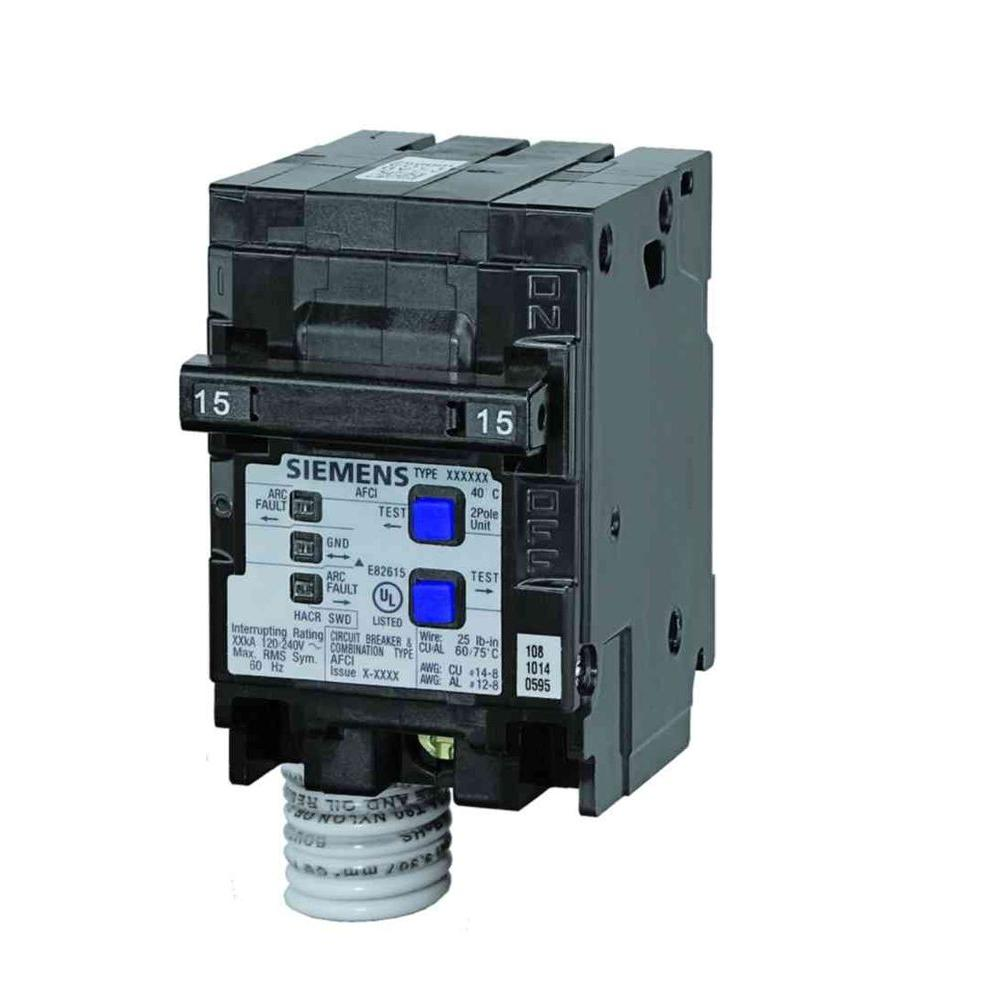 hight resolution of siemens 15 amp double pole type qaf combination afci circuit breaker