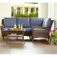 Hampton Bay Spring Haven Brown 5-Piece All-Weather Wicker ...
