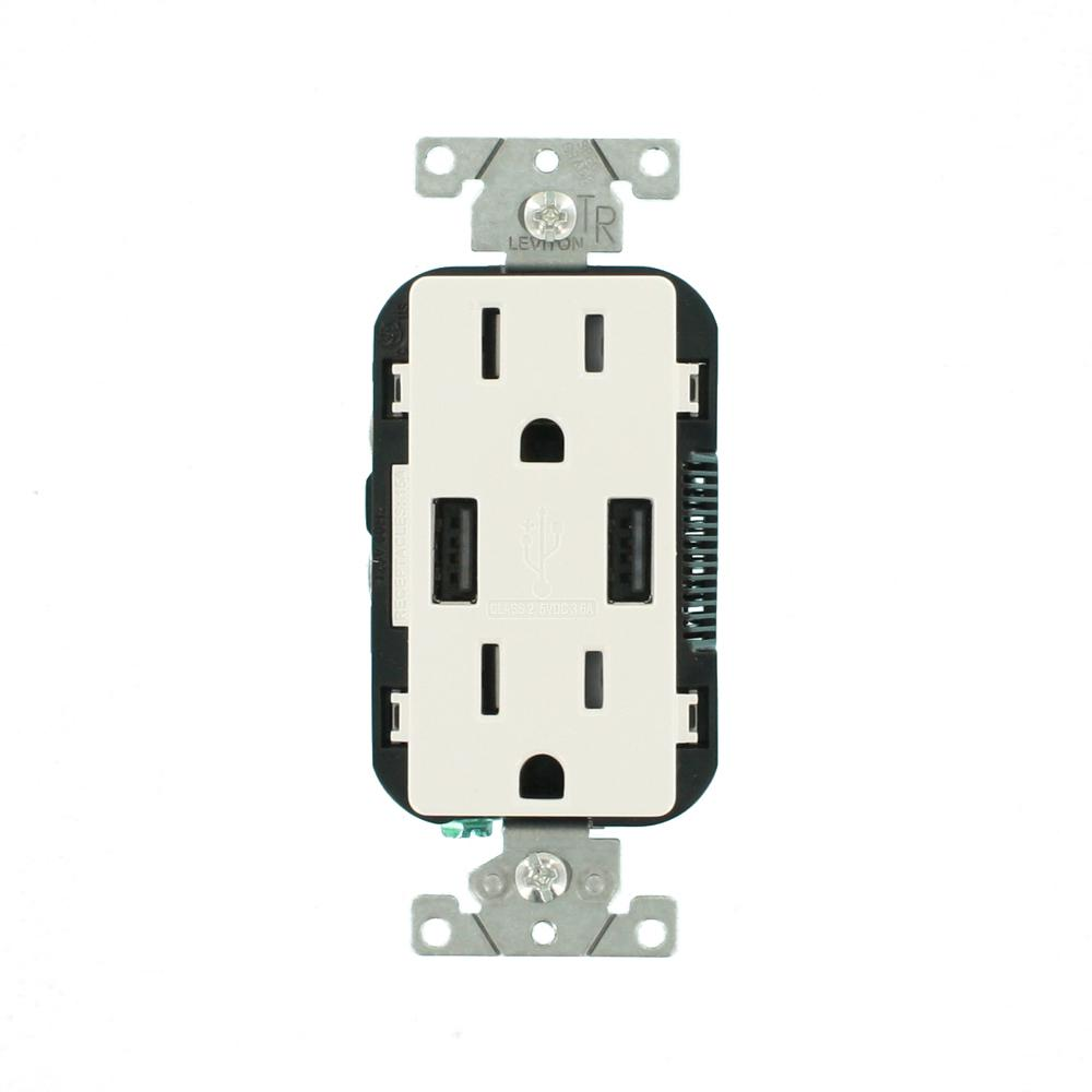 hight resolution of 3 6a usb dual type a in wall charger with 15 amp tamper resistant outlets white