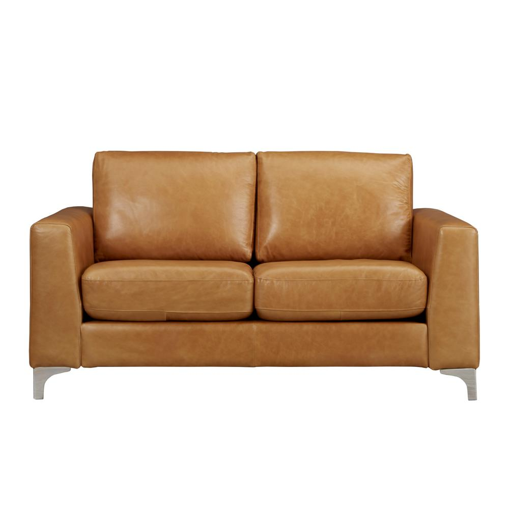 homesullivan russel 66 in caramel faux leather 2 seater loveseat with removable cushions 40e938cm 2bls the home depot