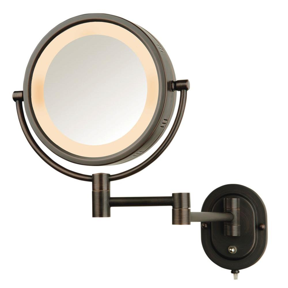 jerdon 5x halo lighted 13 in l x 9 in w wall mount makeup mirror in bronze hl65bz the home depot
