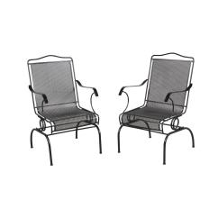 Black Metal Patio Chairs Loveseat Bench Dining Chair Furniture The Home Depot Jackson Action 2 Pack