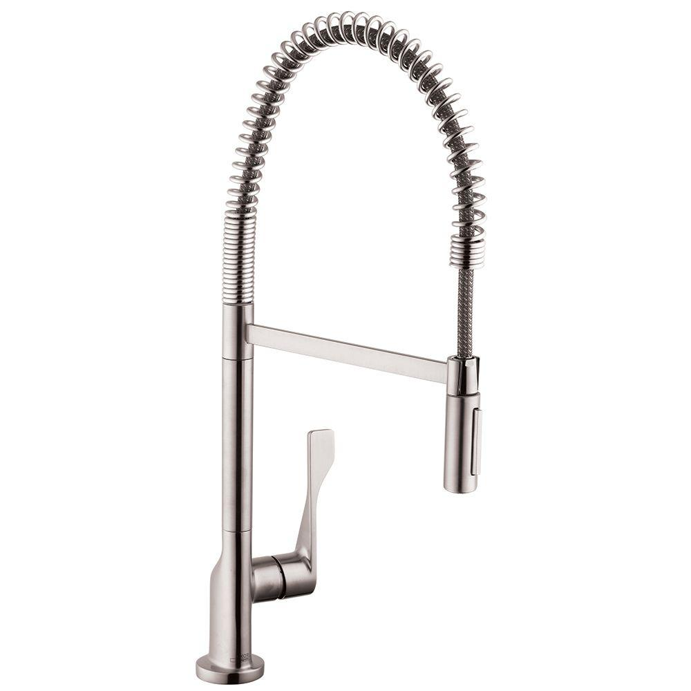 hansgrohe kitchen faucet towel hanging ideas pull down faucets the home depot axor citterio semi pro single handle sprayer in steel