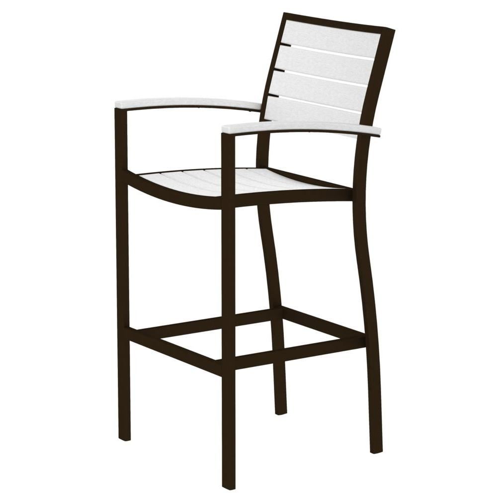 chair height stools gold upholstered chairs outdoor bar furniture the home depot euro textured bronze all weather aluminum plastic arm in white