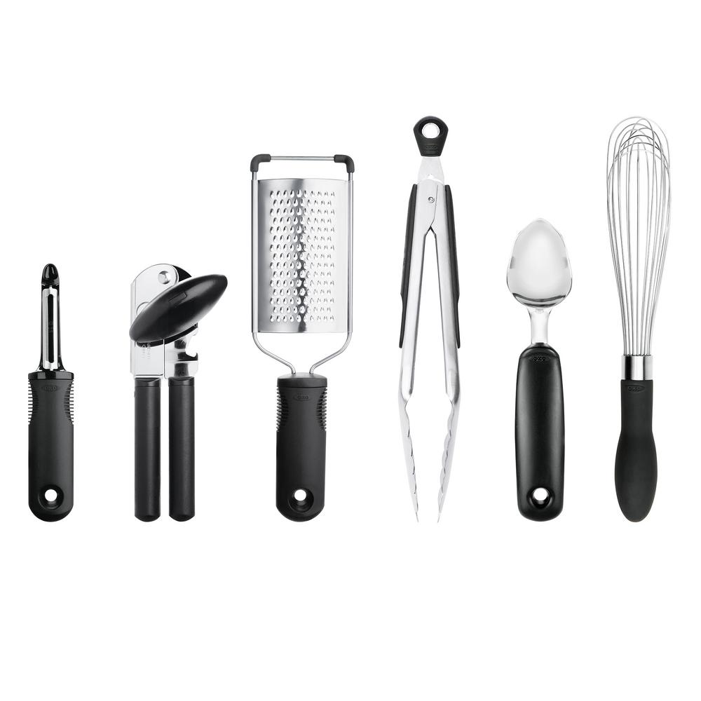 oxo kitchen utensils stainless steel knobs for cabinets good grips 6 piece essentials set 76781 the home depot