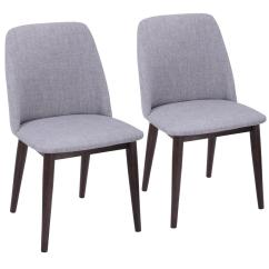 Accent Dining Chairs High Baby Bunting Lumisource Tintori Light Grey Fabric Chair With Walnut Set Of 2