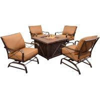 Hanover Summer Nights 5-Piece Patio Fire Pit Set with 4 ...
