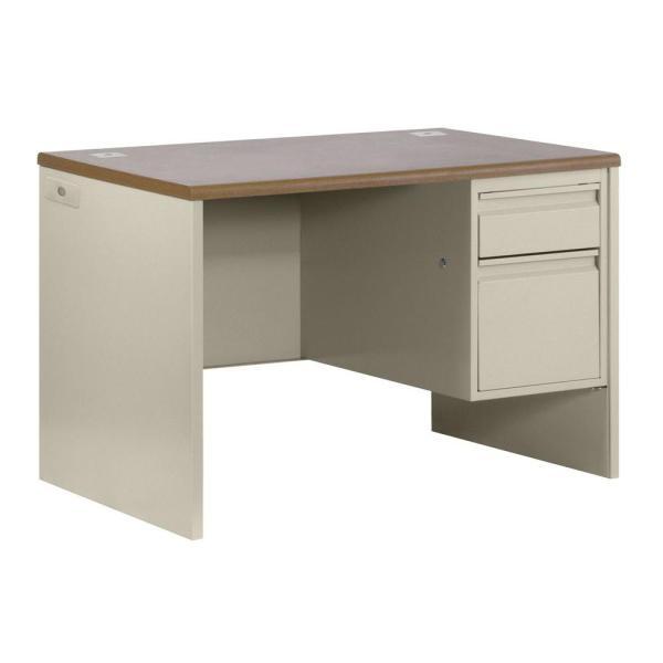 Sandusky 800 Series Single Pedestal Steel Desk In Putty Oak-sp38-4830-op - Home Depot