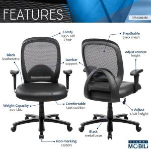 office chair height steel shop near me techni mobili black comfortable big and tall adjustable 5 computer