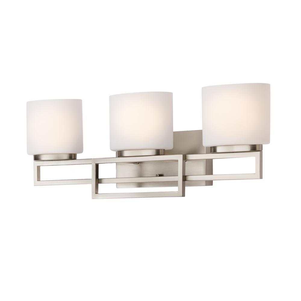 hight resolution of hampton bay 3 light brushed nickel bathroom vanity light with opal glass shades
