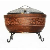 20 in. Clay Fire Pit with Iron Stand (Scroll)-FP - SCROLL ...