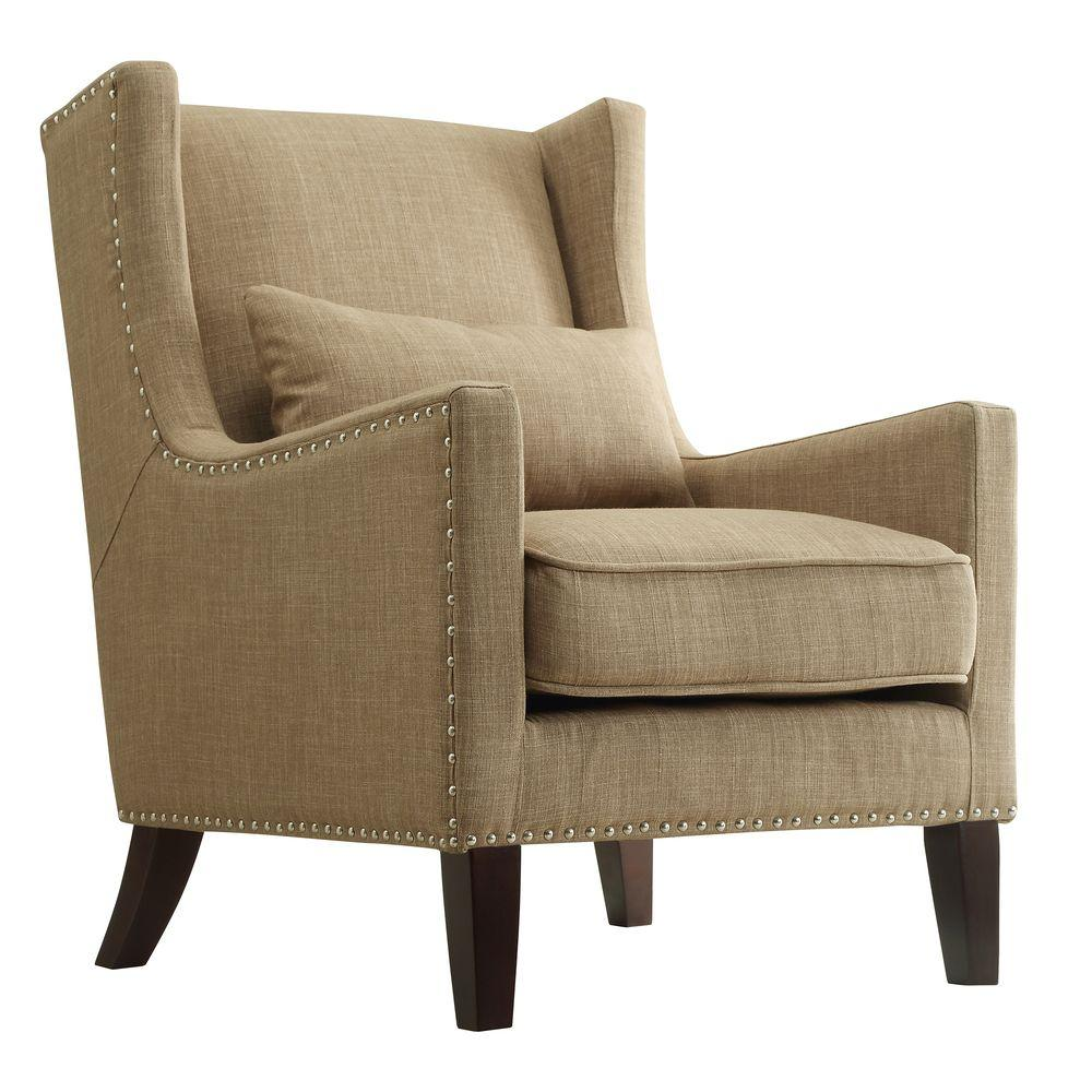 Wingback Recliner Chair Ashley Tan Linen Wing Back Arm Chair