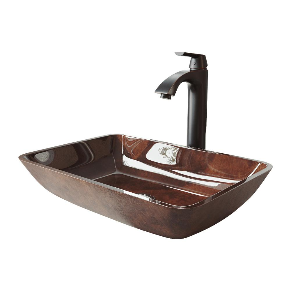 VIGO 18 Rectangular Russet Glass Vessel Bathroom Sink Set