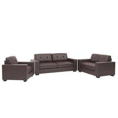3 piece black leather living room set faux sets furniture the home depot club tufted chocolate brown bonded sofa