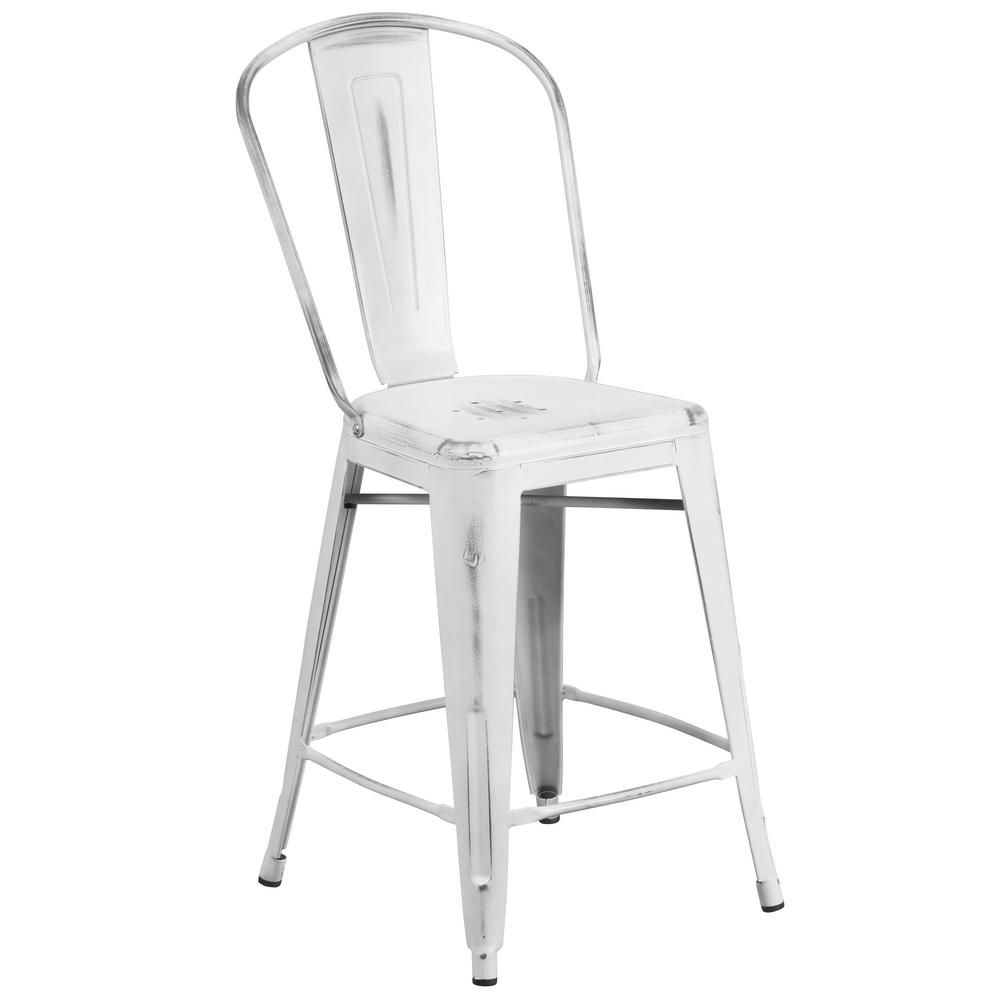 bar stool chairs swing chair the range flash furniture 24 in distressed white et353424wh