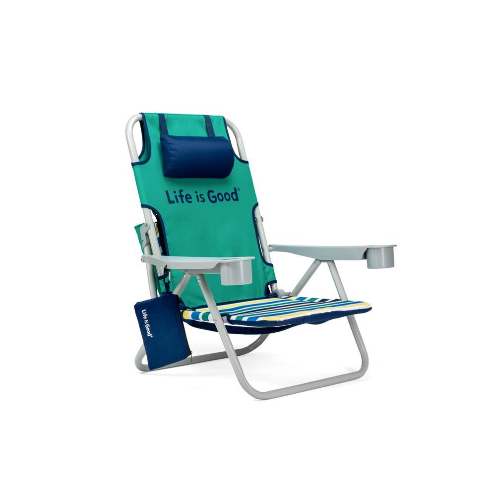 reclining beach chairs fishing bed chair decathlon life is good rocket green aluminum folding and