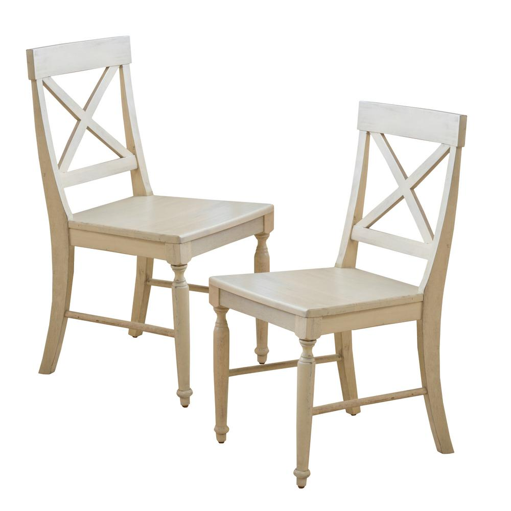 Antique White Dining Chairs Noble House Rovie Antique White Acacia Wood Dining Chairs Set Of