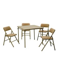 Folding Card Table And Chairs Girls High Chair Cosco 5 Piece Beige Mist Set 14551whd The