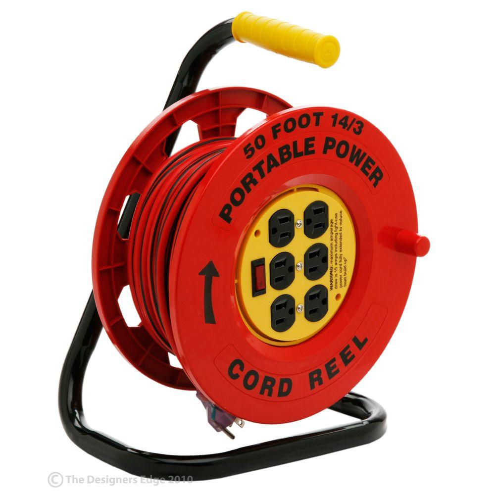 extension cord reel meyer plow wiring diagram dodge southwire 50 ft 14 3 red with 6 outlets e235 the home depot