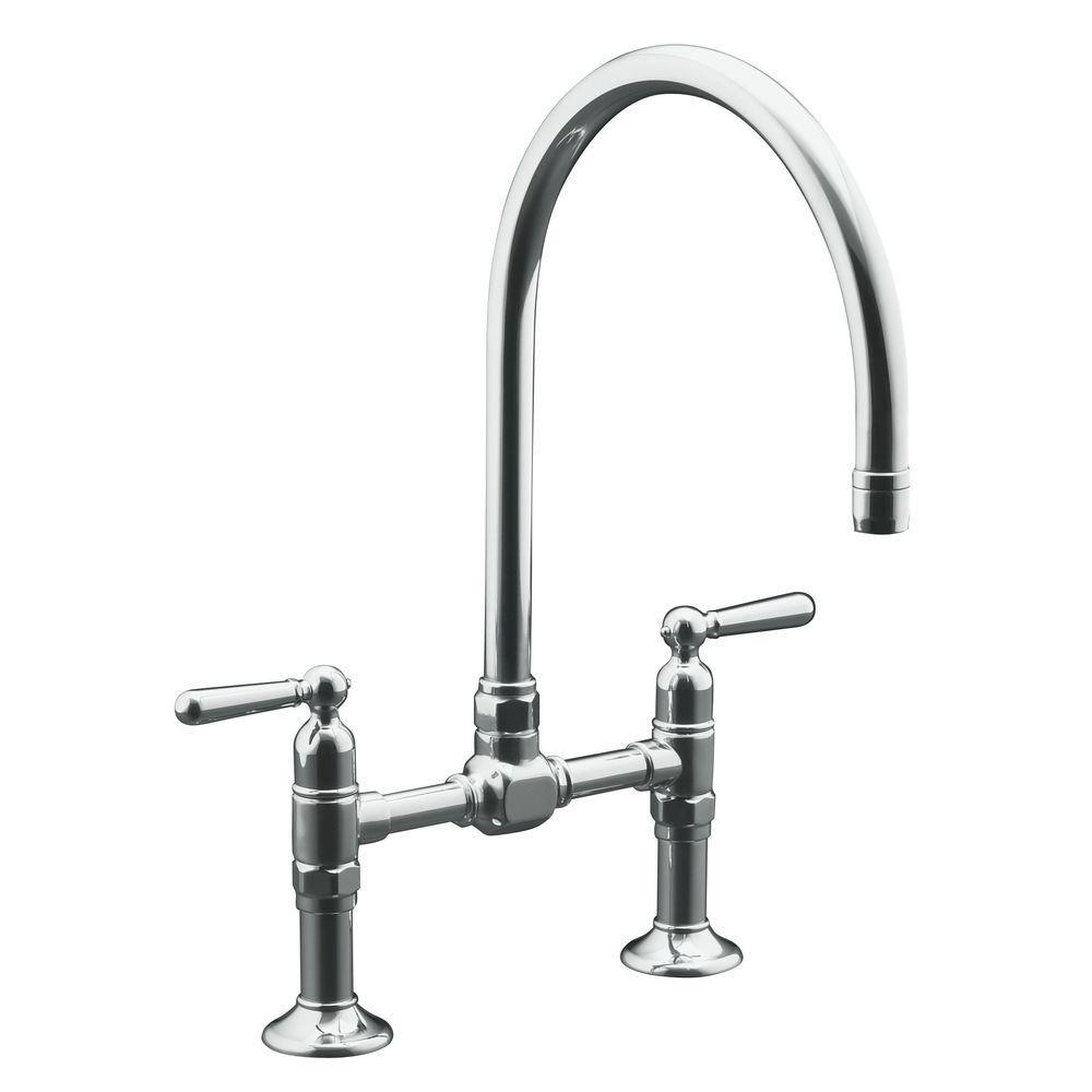 bridge faucets kitchen walmart decor kohler hirise 2 handle faucet in brushed stainless steel